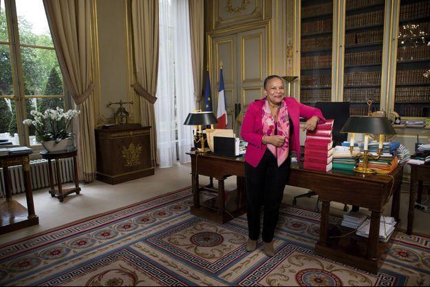 Christiane Taubira, dans son bureau du ministère de la Justice, le 30 avril.