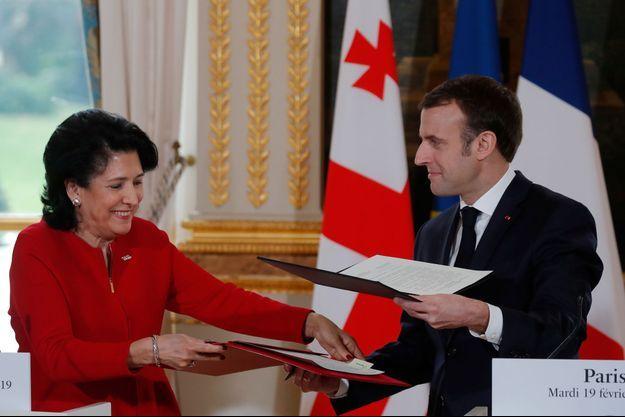 La présidente géorgienne Salomé Zourabichvili reçue à l'Elysée le 19 février 2019.
