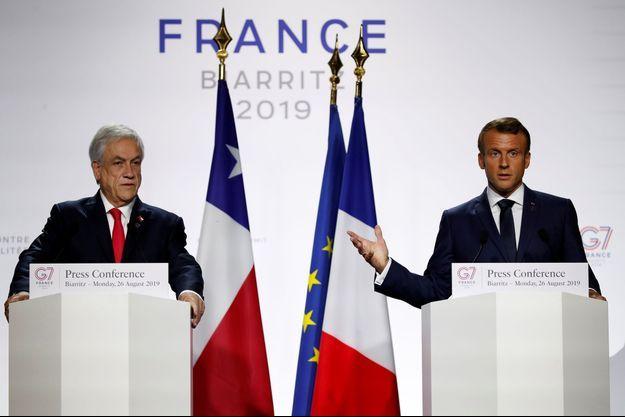 Le président chilien Sebastián Piñera et le chef de l'Etat Emmanuel Macron