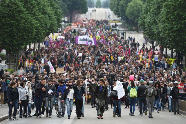 Une manifestation contre la loi Travail à Nantes, le 17 mai.