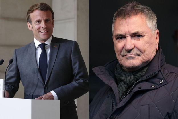 Emmanuel Macron à l'Elysée, lundi dernier, et Jean-Marie Bigard, lors d'un meeting du candidat aux élections municipales à Paris Marcel Campion, en octobre 2019.