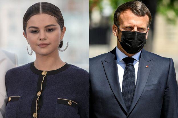 Selena Gomez et Emmanuel Macron.