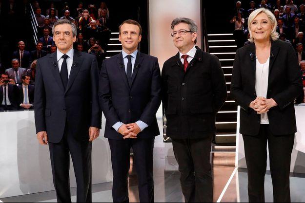 François Fillon, Emmanuel Macron, Jean-Luc Mélenchon et Marine Le Pen.