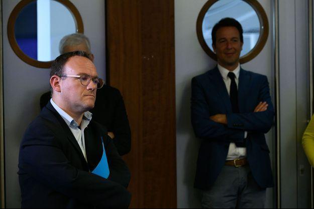 Ici, Damien Abad et Guillaume Peltier, au QG de LR en juin dernier.