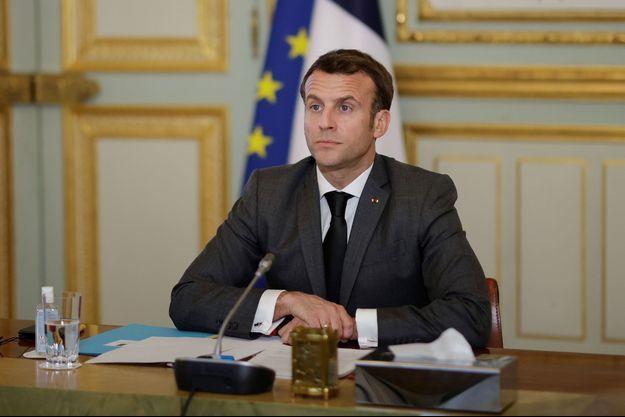Emmanuel Macron, ici à l'Elsyée lors d'une visio conférence le 3 mars.