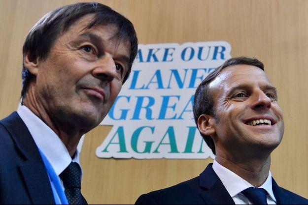 Nicolas Hulot et Emmanuel Macron, en novembre 2017.