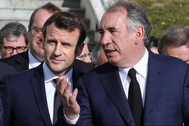François Bayrou et Emmanuel Macron, ici en janvier à Pau.