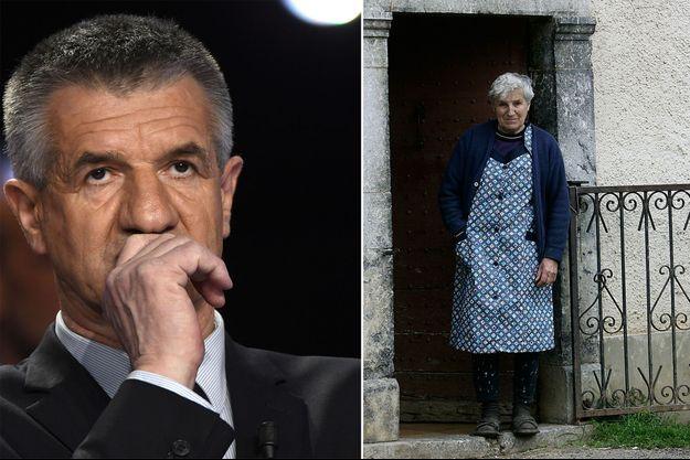Jean Lassalle, ici en avril 2017 et sa mère Marie, en 2006 chez elle à Lourdios-Ichere.