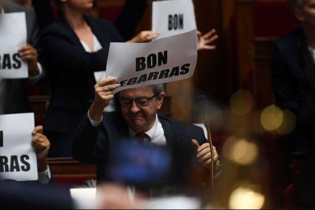 Jean-Luc Mélenchon lors de la dernière intervention de Manuel Valls à l'Assemblée nationale, le 2 octobre.