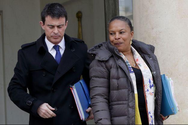 Manuel Valls et Christiane Taubira mercredi à la sortie du Conseil des ministres.