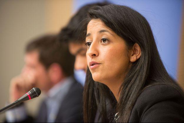 """Karima Delli débat avec Benoist Apparu, lors de la première audition politique """"Tous Européens?"""", jeudi 3 octobre."""