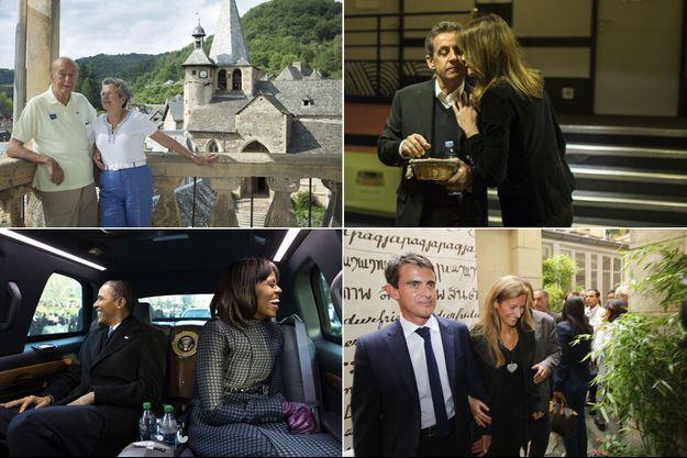 De g. à d. et de h. en bas.: Valéry et Anne-Aymone Giscard d'Estaing, Nicolas et Carla Sarkozy, Barack et Michelle Obama, Manuel Valls et Anne Gravoin