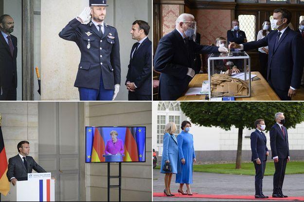 Montage de différents moments de l'année 2020 d'Emmanuel Macron.