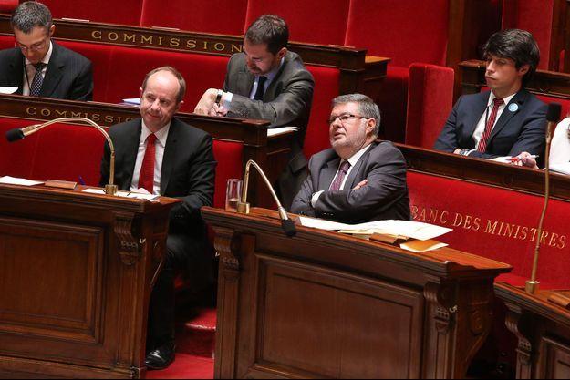 Jean-Jacques Urvoas, rapporteur du projet de loi sur la transparence, et Alain Vidalies, ministre des Relations avec le Parlement.