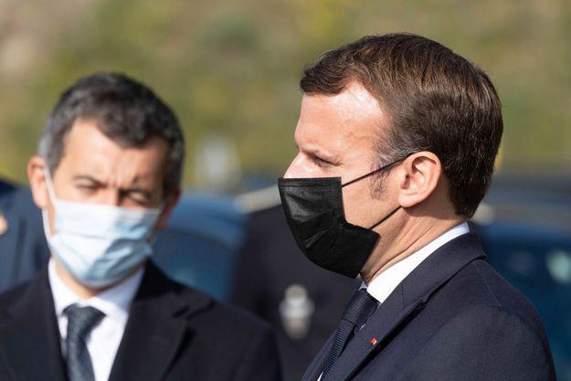 Emmanuel Macron et Gérald Darmanin en visite dans les Pyrénées-Orientales, le 15 novembre.