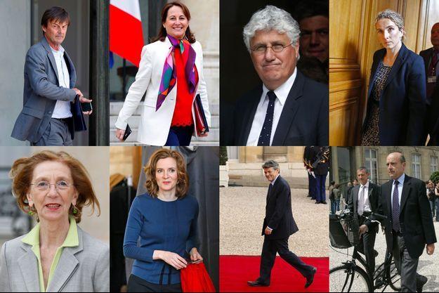 Nicolas Hulot, Ségolène Royal, Philippe Martin, Delphine Batho, Nicole Bricq, Nathalie Kosciusko-Morizet, Jean-Louis Borloo et Alain Juppé, tous ex-ministres de l'Ecologie.