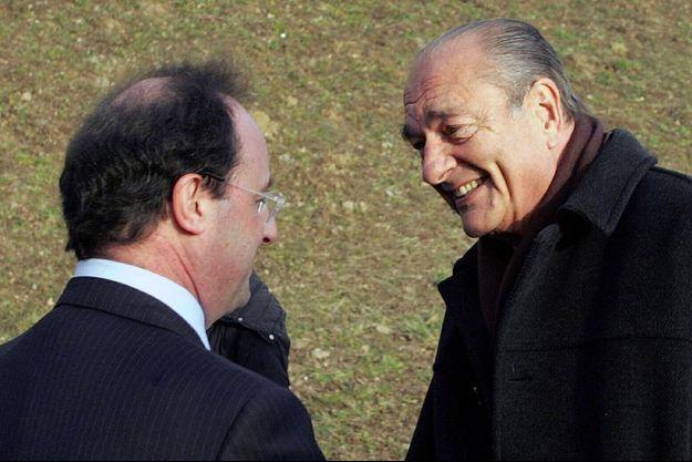 François Hollande et Jacques Chirac le 14 janvier 2006 à Tulle.