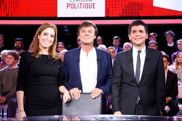 Nicolas Hulot jeudi aux côtés de Léa Salamé et Thomas Sotto.