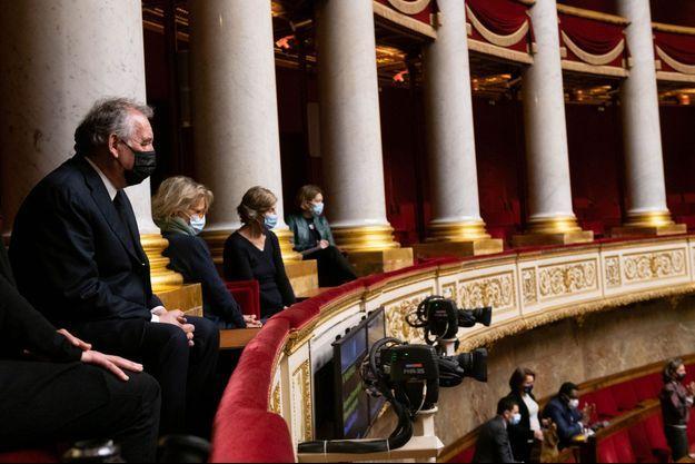 François Bayrou mardi à l'Assemblée nationale lors de l'hommage à Marielle de Sarnez.