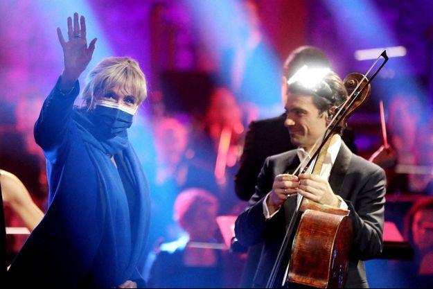 Brigitte Macron et Gautier Capuçon, le 4 février lors de l'enregistrement de l'émission.