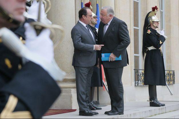 François Hollande accueille Gérard Larcher à l'Elysée, le 22 janvier dernier.
