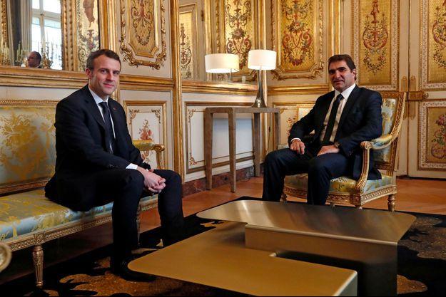 Christian Jacob à l'Elysée avec Emmanuel Macron, lundi.