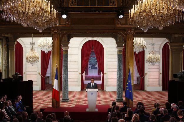 La conférence de presse à l'Elysée, lundi 7 septembre.