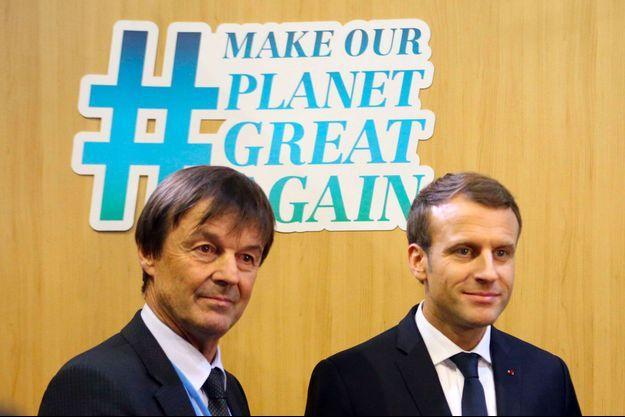 Nicolas Hulot et Emmanuel Macron à Bonn, le 15 novembre 2017.