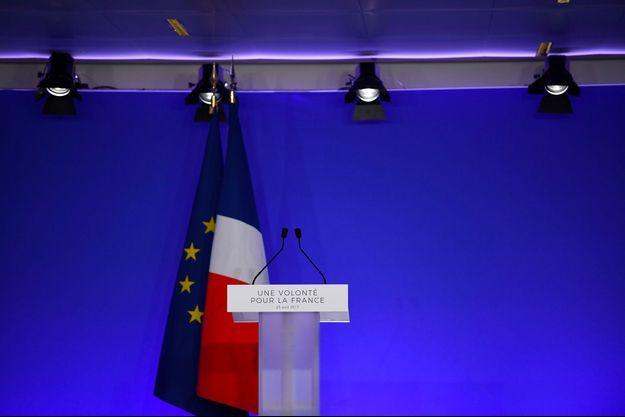 Au QG de campagne de François Fillon, le 23 avril 2017.