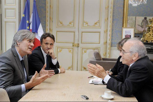 Stéphane Le Foll, Philippe Mauguin, son directeur de cabinet, et François de Closets.