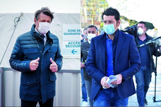 Christian Estrosi et David Lisnard, maires LR et pro-masque de Nice et de Cannes.