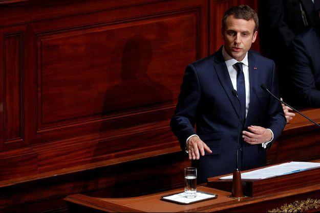 Emmanuel Macron s'exprime au Congrès de Versailles.