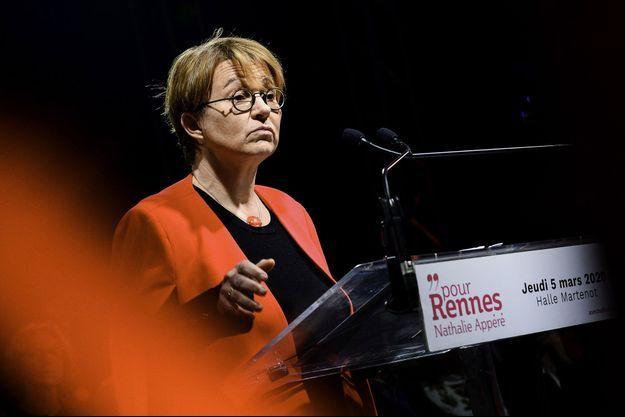 La maire PS de Rennes Nathalie Appéré, ici lors de la campagne municipale en mars 2020.