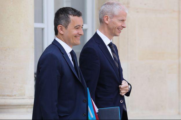 Les ministres Gérald Darmanin et Franck Riester à l'Elysée en mai dernier.