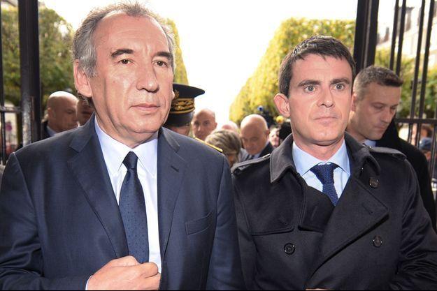 François Bayrou et Manuel Valls, ensemble à Pau en novembre 2014.