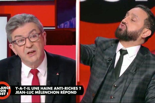"""Jean-Luc Mélenchon dans l'émission """"Balance ton post"""" sur C8 jeudi soir."""