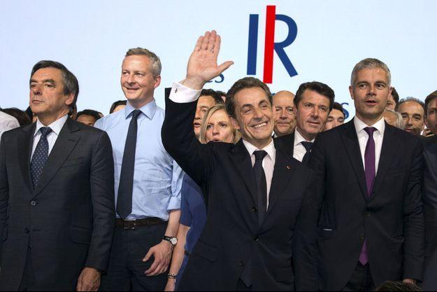 François Fillon, Bruno Le Maire, Nicolas Sarkozy et Laurent Wauquiez à Paris le 30 mai 2015.