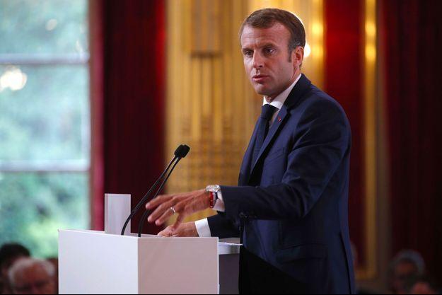 Emmanuel Macron à l'Elysée, lundi.