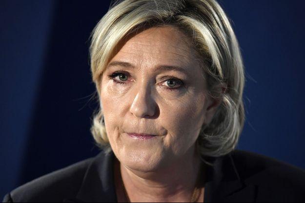 Marine Le Pen, à son QG de campagne le 21 avril.