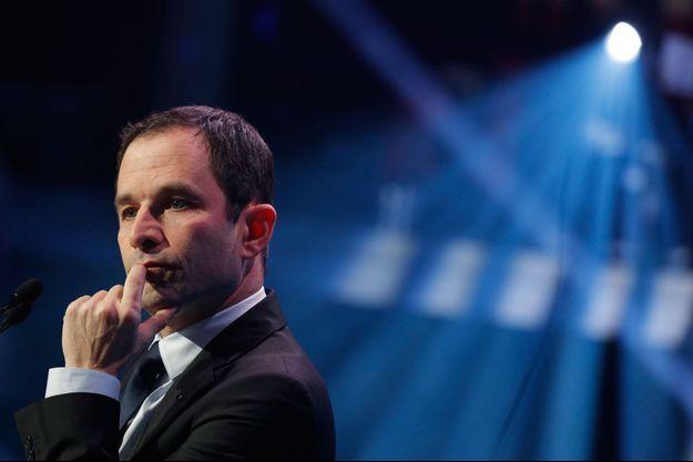 Benoît Hamon à un meeting de l'UDECAM, à Paris, le 2 mars 2017.