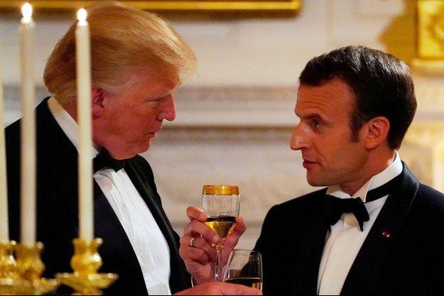 Donald Trump et Emmanuel Macron le 24 avril dernier, lors du dîner d'Etat à la Maison-Blanche.