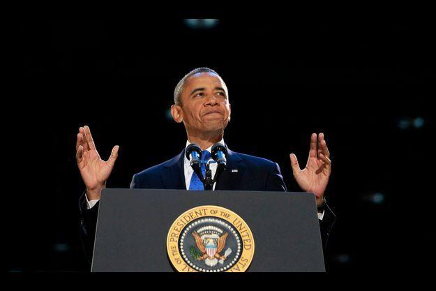 Barack Obama pendant son discours à Chicago dans la nuit du 6 novembre 2012.