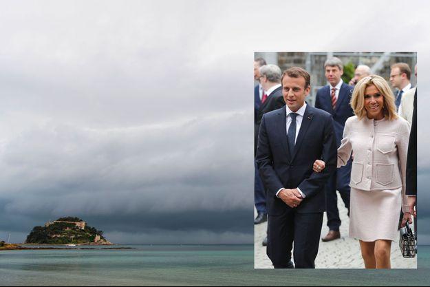 Le fort de Brégançon, dans le Var, dimanche. En médaillon, Emmanuel et Brigitte Macron à Aix-la-Chapelle, jeudi 10 mai.