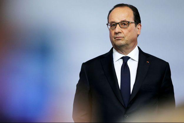 François Hollande en mai 2016 à Grand-Quevilly, en Normandie.