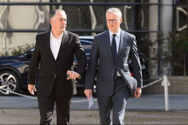 Didier Guillaume et Bruno Le Maire début mars à Paris.