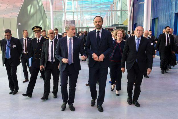 Edouard Philippe, Jean-Yves Le Drian et Muriel Pénicaud à leur arrivée à Nancy.