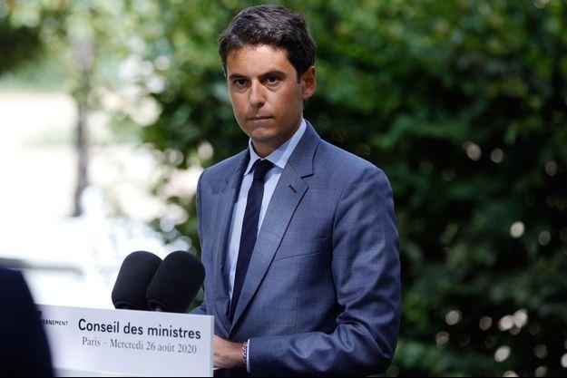 Gabriel Attal, porte-parole du gouvernement, à l'Elysée mercredi, à l'issue du Conseil des ministres.
