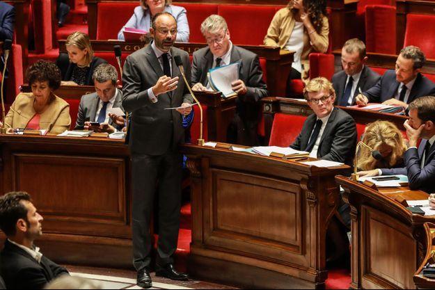 Édouard Philippe devant l'Assemblée nationale mardi.