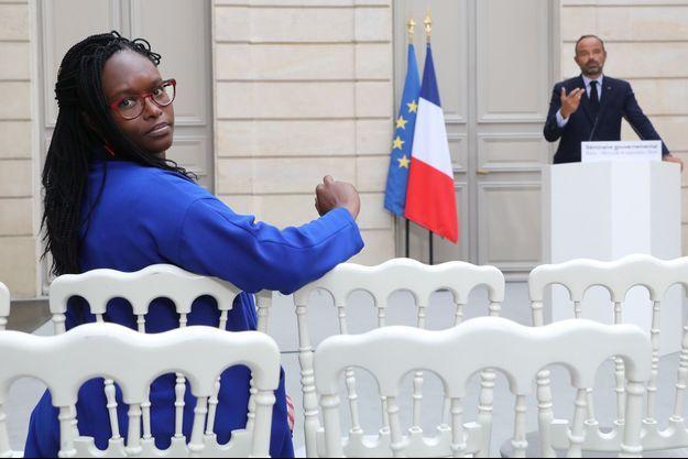 Sibeth Ndiaye, ici lors d'une conférence d'Edouard Philippe à l'Elysée, début septembre.