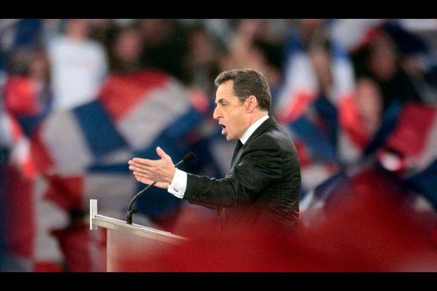 Nicolas Sarkozy lors de son discours à Villepinte.